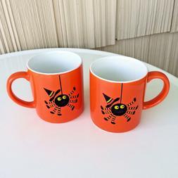 Crate & Barrel Halloween 2 Child Mugs Orange and Black Witch
