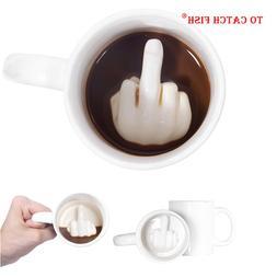 Creative Design White Middle Finger <font><b>mug</b></font>,