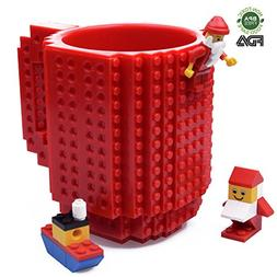 Creative DIY Build-on Brick Mug, Lego Style Coffee Mugs, Gif