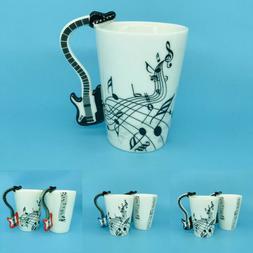 Creative Guitar Music Note Handle Porcelain Coffee Mug White
