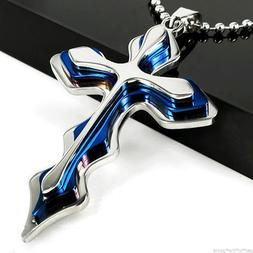 Cross Pendant Necklace BLUE Stainless Steel Unisex Crucifix