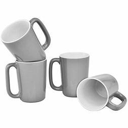 Culver SLAT Ceramic Mug, 16-Ounce, Grey White, Set Of 4 Kitc