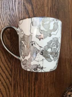 10 Strawberry Street Cup Mug White Silver Floral Bird