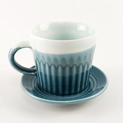 Ceramic Coffee Cup with Saucer Set 8 oz Capacity Handmade Wa
