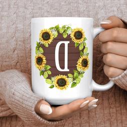 Custom Sunflower Initial Coffee Mug Microwave And Dishwasher