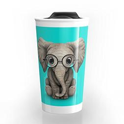 Society6 Cute Baby Elephant Calf With Reading Glasses On Blu