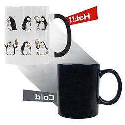 InterestPrint Cute Cartoon Penguin Morphing Mug Heat Sensiti