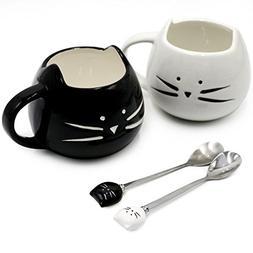 Koolkatkoo Cute Cat Mug Ceramic Coffee Mugs Set Gifts for Wo