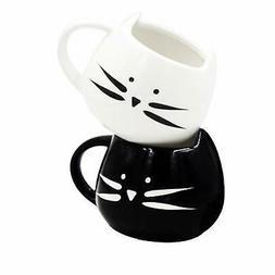 Norealm Cute Cat Coffee Mug Set - Lovely Ceramic Cat Tea Mug