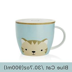 UPSTYLE Cute Coffee Mug Cartoon Ceramic Soup Bowl Animal Pat