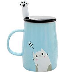 Angelice Home Cute Kitty Mug Funny Ceramic Cofffee Mug with