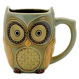 Teagas Cute Owl Mug Cup 12 oz - Cyan Cute Owl Morning Coffee