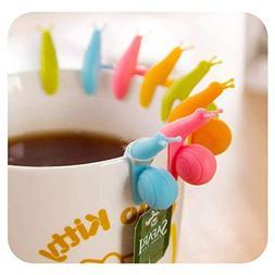 YSTD 10pcs Cute Snail Shape Silicone Tea Bag Holder Cup Mug