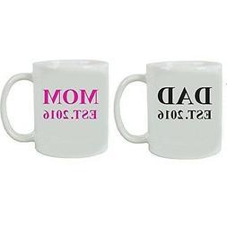 Dad + Mom Established EST. 2016 Ceramic Coffee Mug Set - Gre
