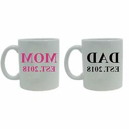 Dad + Mom Established EST. 2018 11-Ounce White Ceramic Coffe