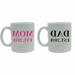 Dad + Mom Established EST. 2018 11-Ounce White Ceramic Coffe
