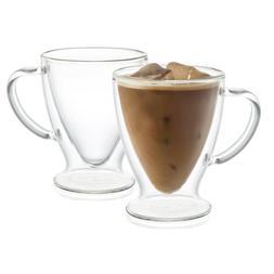 JoyJolt Declan Irish Glass Coffee Cups Double Wall Insulated