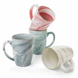Delicate 16 oz Marble Ceramic Coffee Mugs, Set of 4