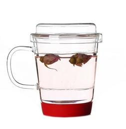 Different Glass Cup with infuser and handle, Glass Mug with