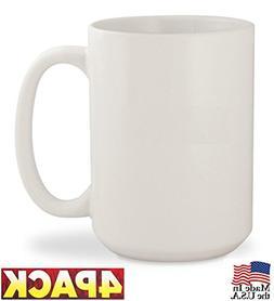 Diner Coffee Mug Porcelain Set of 4-15 Oz MADE IN USA