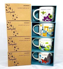 Disney World Starbucks Ceramic 14oz Set of Coffee Mugs All 4
