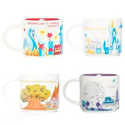 Disney World Starbucks You Are Here 4 Theme Parks Mugs Set A