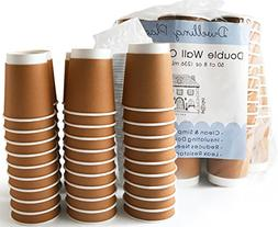 Premium 8 oz Disposable Coffee Cups with Lids  - Use your Co