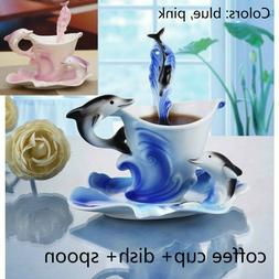 Dolphin Pattern Porcelain Coffee Mug Set with Dish Spoon Hom