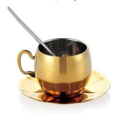 Double Wall Coffee Mug Stainless Steel Gold Set With Spoon a