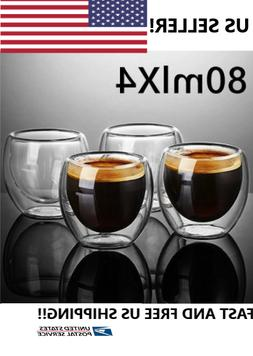 Double Wall Espresso Insulated Glass Cups Set Of 4 80ml Coff