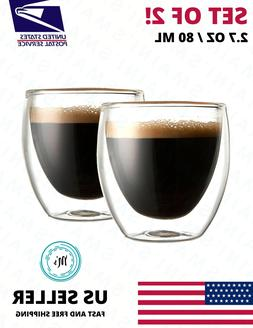 Double Wall Espresso Insulated Glass Cups Set Of 2 80ml Coff