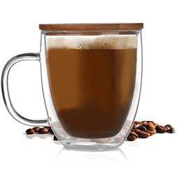 Double Wall Glass Cup Coffee Mug Cup Tea Cup with Bamboo Lid