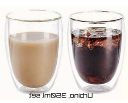 Double wall Insulated glass cups, 2/4/6 Handmade 350ml 12oz,