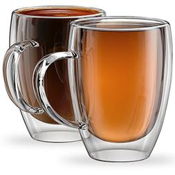 Stone & Mill Set of 2 Double Wall Glass Coffee Cups, Torino