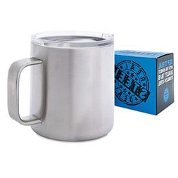 Double Walled Metal Camping Mug with Lid 16 oz Stainless Ste