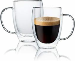 Double Walled Thermal Insulated Glass Coffee Mugs, Set of 2,