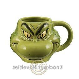 Dr. Seuss Grinch Sculpted Ceramic Mug 18oz New
