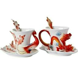 Dragon and Phoenix Ceramic Mug with 3D Saucer Porcelain Spoo