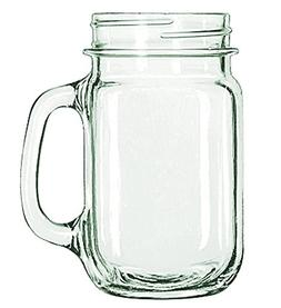 Libbey Drinking Mason Jar with Handle, Clear, 16-Ounces