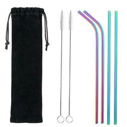 Drinking Stainless Steel Metal Straw with 2 Cleaner Brush Fo