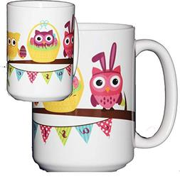 Easter Coffee Mug Hostess Gift Adorable Cartoon Owls on a Tr