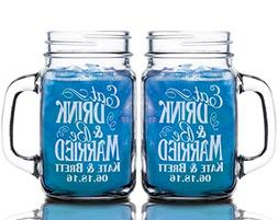 Eat Drink and Be Married Set of 2  Personalized Mason Jars D