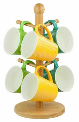 Home Basics NEW Eco-Friendly Natural Kitchen Bamboo Mug Tree
