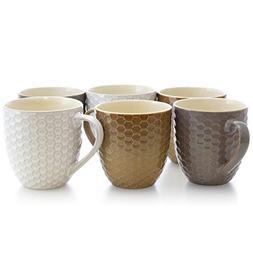 Elama EL-HONEYCOMB2 Honeycomb 6-Piece 15 oz. Mug Set, Assort