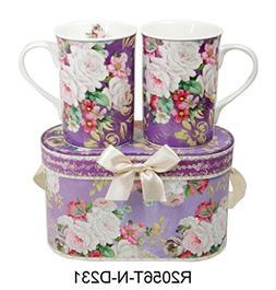 Lightahead Elegant Bone China Two Mugs set in Romantic Roses