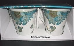 222 Fifth Eliza Teal Coffee Mugs Cups - Set of 2 - Porcelain