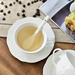 Embossed Porcelain Coffee Tea Cup Set Saucer European Mug Bi