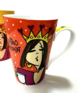 Emerson Design 14 oz Coffee Princess Mug Hearts Crown Funny