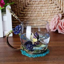 Enamel Coffee Tea Cup Mug 3D Rose Butterfly Glass Cups Weddi
