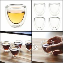Set of 4 Espresso Cups - Double Walled Espresso Glasses, Ins